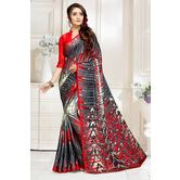 Craftsvilla Red And Grey Abstract Digital Printed Satin Designer Saree