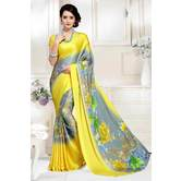 Craftsvilla Yellow And Grey Abstract Digital Printed Satin Designer Saree