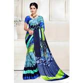 Craftsvilla Blue Abstract Digital Printed Satin Designer Saree