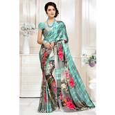 Craftsvilla Grey And Green Abstract Digital Printed Satin Designer Saree