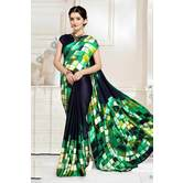 Craftsvilla Blue And Green Abstract Digital Printed Satin Designer Saree
