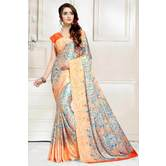 Craftsvilla Peach And Blue Abstract Digital Printed Satin Designer Saree