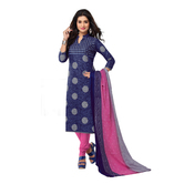 Craftsvilla Blue Color Cotton Printed Unstitched Straight Suit