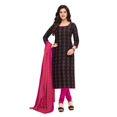 Craftsvilla Black Color Cotton Printed Unstitched Straight Suit