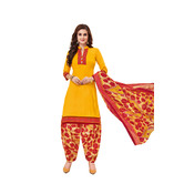 Craftsvilla Yellow Color Cotton Printed Unstitched Straight Suit