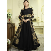 Sutva Black Color Georgette Embroidered Semi-stitched Gown