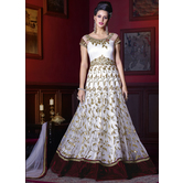 Sutva White Color Net Embroidered Semi-stitched Gown