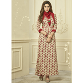 Sutva Ivory Color Reyon Printed Fully Stitched Gown
