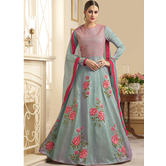 Sutva Grey Color Silk Embroidered Semi-stitched Gown