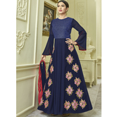 Sutva Navy Blue Color Georgette Embroidered Semi-stitched Gown