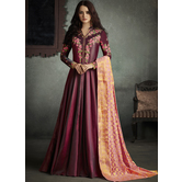 Sutva Magenta Color Silk Embroidered Semi-stitched Gown