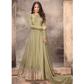 Sutva Green Color Net Embroidered Semi-stitched Gown