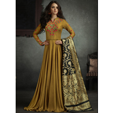 Sutva Mustard Color Rayon Embroidered Semi-stitched Gown
