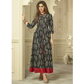 Sutva Black Color Color Reyon Printed Fully Stitched Gown