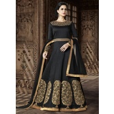 Sutva Black Color Silk Embroidered Semi-stitched Gown