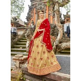 Craftsvilla Beige Raw Silk Embroidered Designer Semi-stitched Lehenga Choli