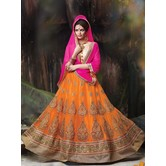 Craftsvilla Orange Net Embroidered Designer Semi-stitched Lehenga Choli