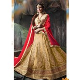 Craftsvilla Beige Net Embroidered Designer Semi-stitched Lehenga Choli