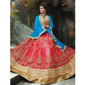 Craftsvilla Red Net Embroidered Designer Semi-stitched Lehenga Choli