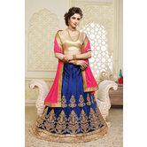 Craftsvilla Navy Net Embroidered Designer Semi-stitched Lehenga Choli