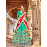Craftsvilla Turquoise Raw Silk Embroidered Designer Semi-stitched Lehenga Choli