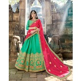 Craftsvilla Green Raw Silk Embroidered Designer Semi-stitched Lehenga Choli