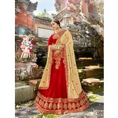 Craftsvilla Red Raw Silk Embroidered Designer Semi-stitched Lehenga Choli