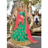 Craftsvilla Teal Green Raw Silk Embroidered Designer Semi-stitched Lehenga Choli