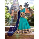 Craftsvilla Teal Blue Raw Silk Embroidered Designer Semi-stitched Lehenga Choli
