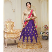 Craftsvilla Purple Net Embroidered Designer Semi-stitched Lehenga Choli