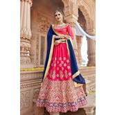 Craftsvilla Pink Raw Silk Embroidered Designer Semi-stitched Lehenga Choli