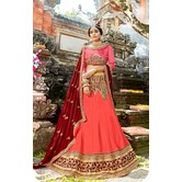Craftsvilla Peach Raw Silk Embroidered Designer Semi-stitched Lehenga Choli
