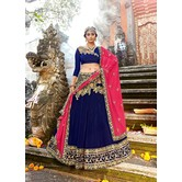 Craftsvilla Navy Raw Silk Embroidered Designer Semi-stitched Lehenga Choli