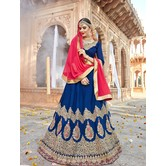 Craftsvilla Blue Raw Silk Embroidered Designer Semi-stitched Lehenga Choli