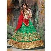 Craftsvilla Green Net Embroidered Designer Semi-stitched Lehenga Choli