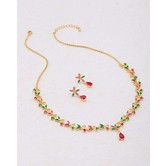 Craftsvilla Gold Plated Crystal Embellished Classic Brass Necklace Set