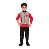 Craftsvilla Red Color Shirt Pant And Waistcoat For Boys