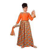 Craftsvilla Orange Color Lehenga Choli For Girls