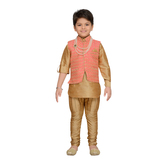 Craftsvilla Peach Color Kurta Pyjama And Waistcoat For Boys