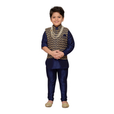 Craftsvilla Blue Color Kurta Pyjama And Waistcoat For Boys