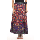 Craftsvilla Green Color Jaipuri Bagru Print Wrap Around Cotton Skirt