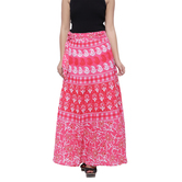 Craftsvilla Pink Color Jaipuri Bagru Print Wrap Around Cotton Skirt