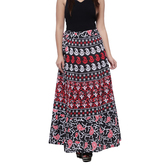 Craftsvilla Black Color Jaipuri Bagru Print Wrap Around Cotton Skirt