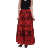 Craftsvilla Red Color Jaipuri Bagru Print Wrap Around Cotton Skirt