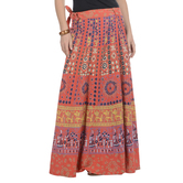 Craftsvilla Orange Color Jaipuri Bagru Print Wrap Around Cotton Skirt