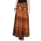 Craftsvilla Brown Color Jaipuri Bagru Print Wrap Around Cotton Skirt