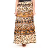 Craftsvilla Beige Color Jaipuri Bagru Print Wrap Around Cotton Skirt