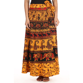 Craftsvilla Yellow Color Jaipuri Bagru Print Wrap Around Cotton Skirt