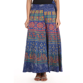 Craftsvilla Blue Color Jaipuri Bagru Print Wrap Around Cotton Skirt