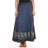 Craftsvilla Purple Color Jaipuri Bagru Print Wrap Around Cotton Skirt
